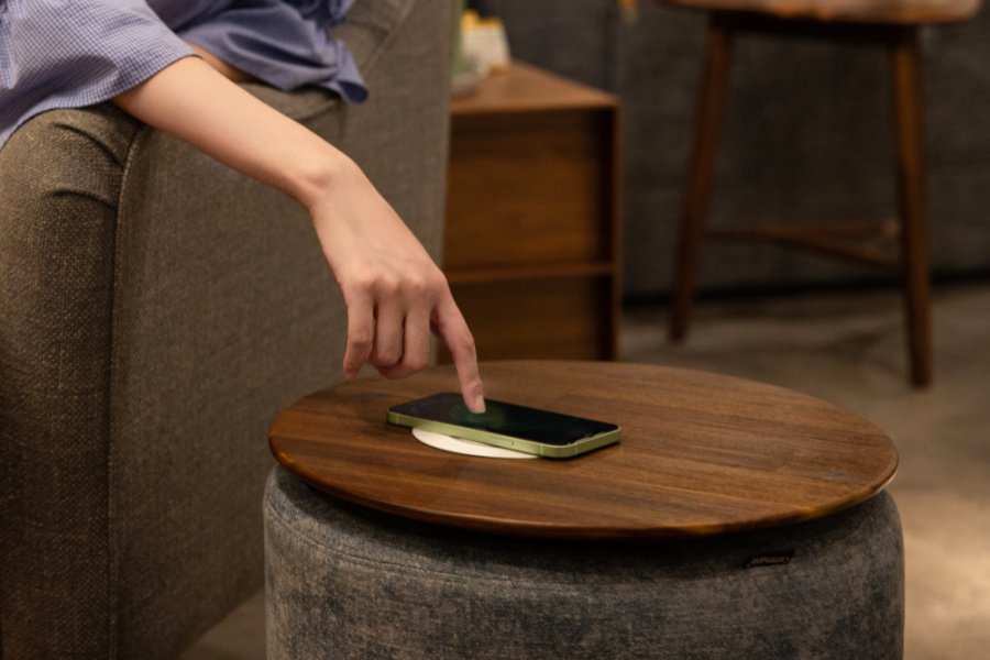 side table with wireless charger